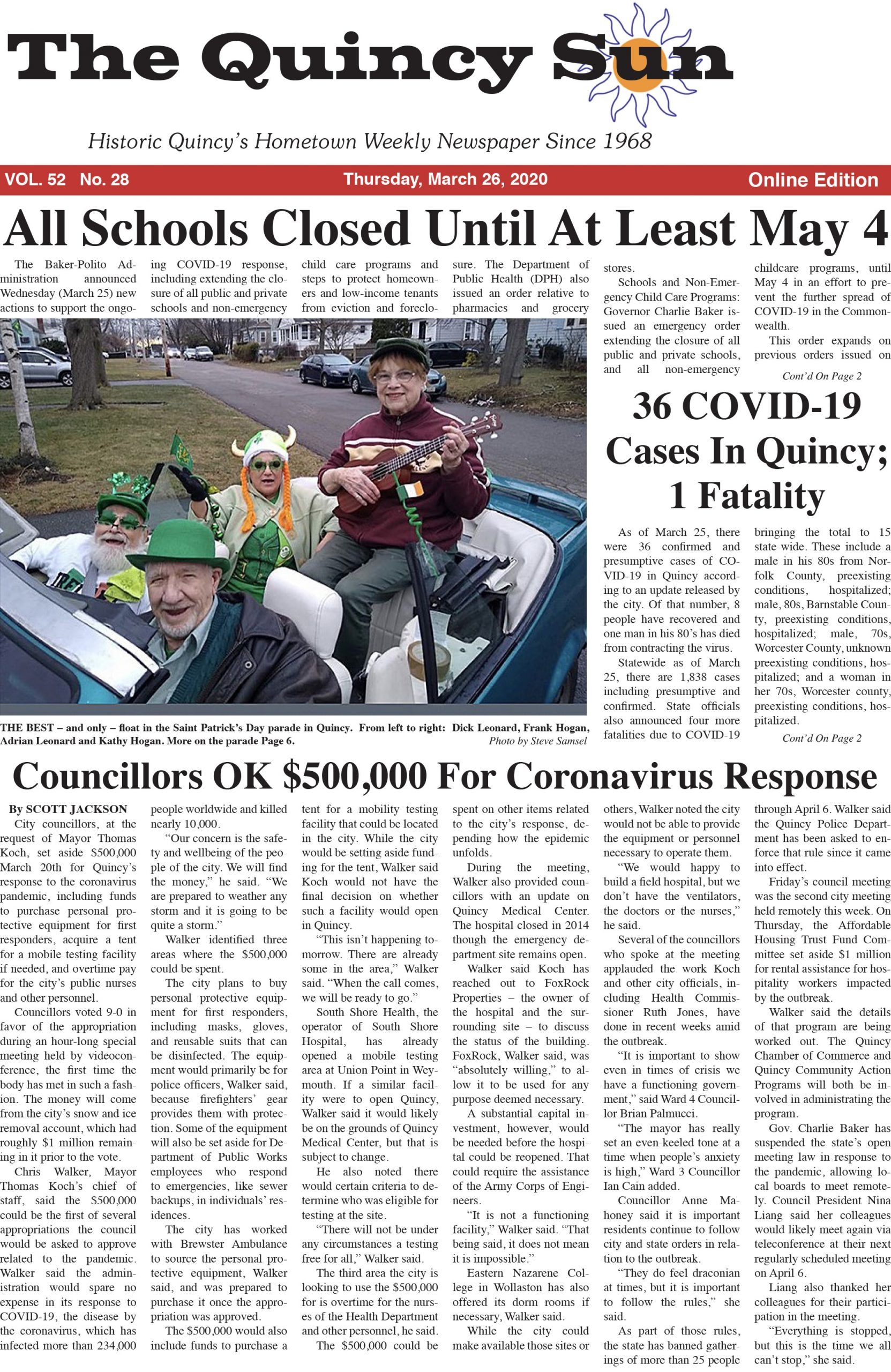 The Quincy Sun - March 26, 2020