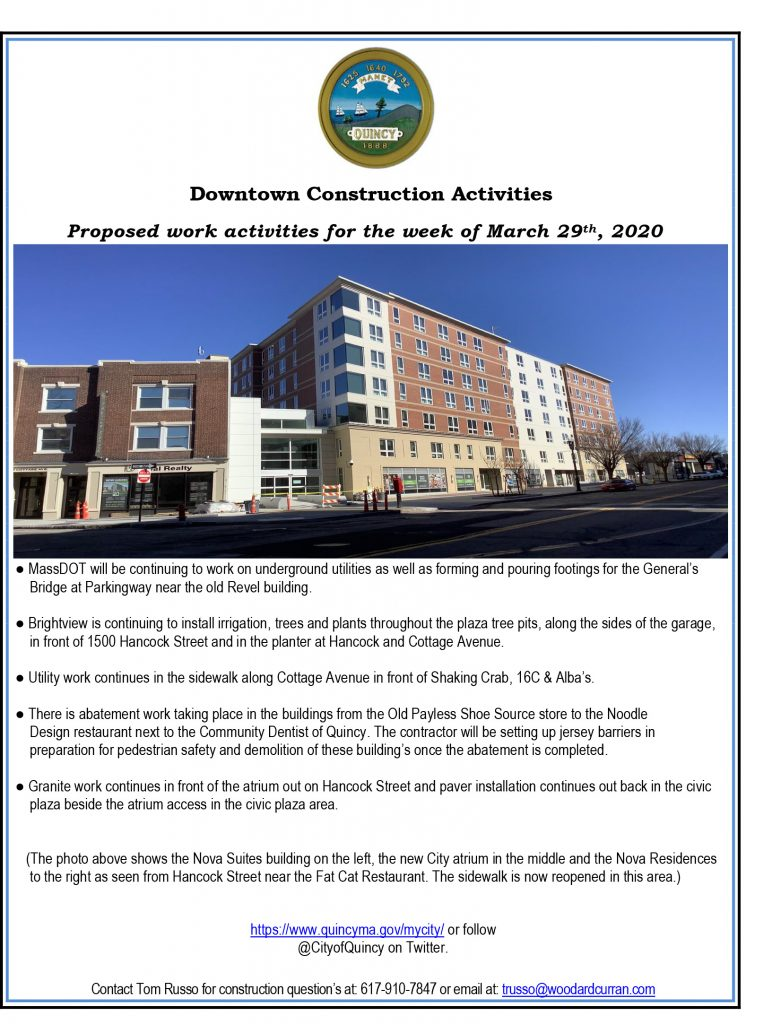 Downtown Construction Activities Week Of March 29