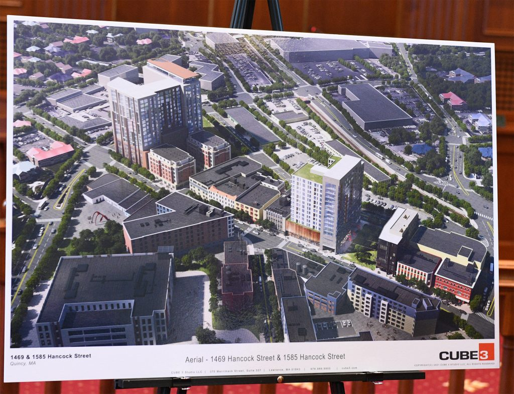Artist's rendering showing the three new announced developments along Quincy Center in Hancock Street.