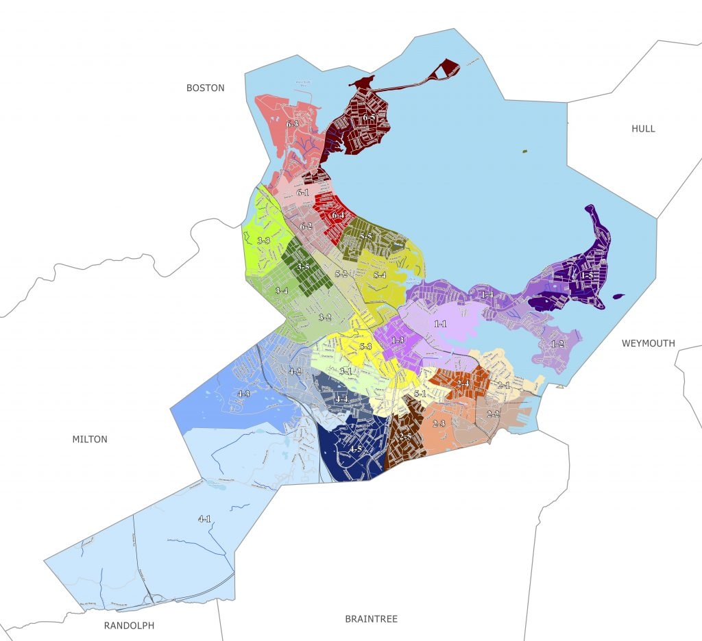 City councillors on Monday approved new ward and precinct lines for the city of Quincy. The new map will be used starting in 2022. Image courtesy city of Quincy.